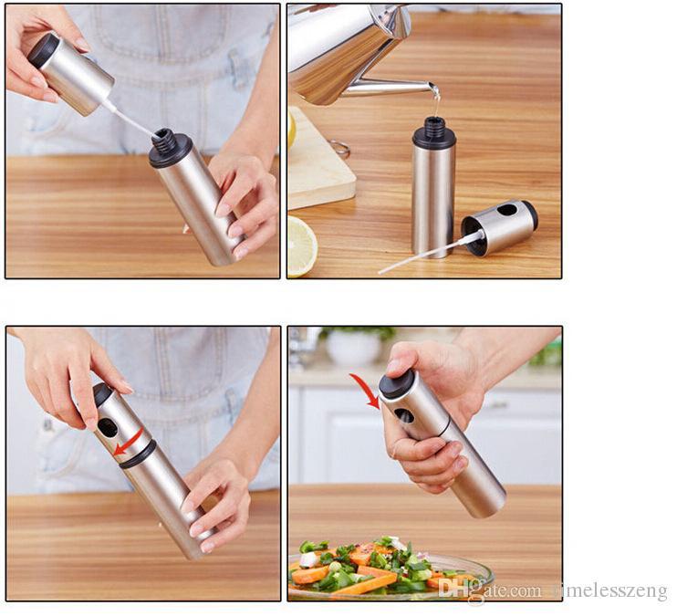 Botella de aerosol de acero inoxidable Botella de aceite Bomba de aceite Pulverizador BARBACOA para cocinar al aire libre Botella de vinagre de aceite Envío gratuito