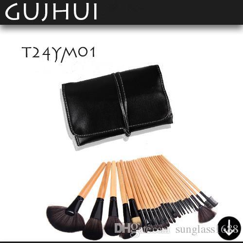 Pinnk bois rouge Professional Kit Cheveux Persans Kit pinceaux de maquillage Ensemble Avec Sac Doux Etui Beauté Ombre À Paupières