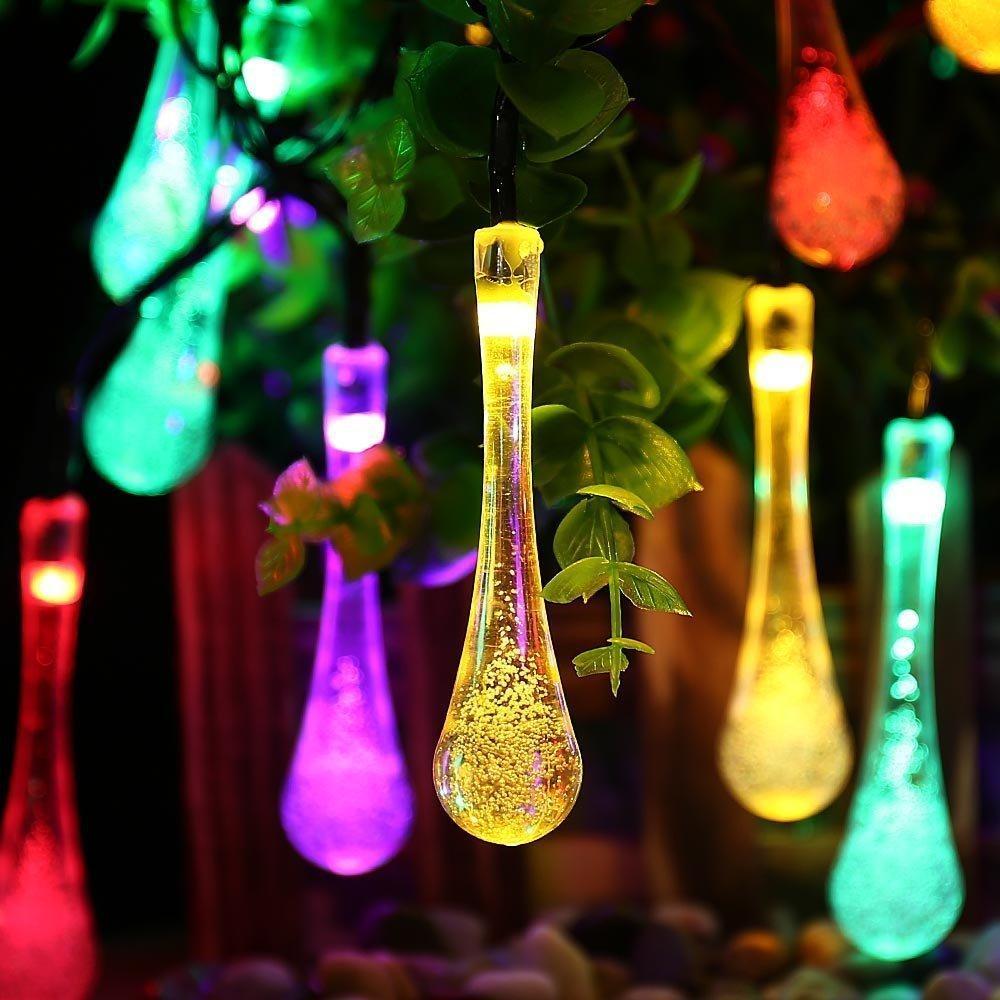 Wholesale- 30 LED Water Drop Solar Powered String Lights LED Fairy Light for Wedding Christmas Party Festival Outdoor Indoor Decoration