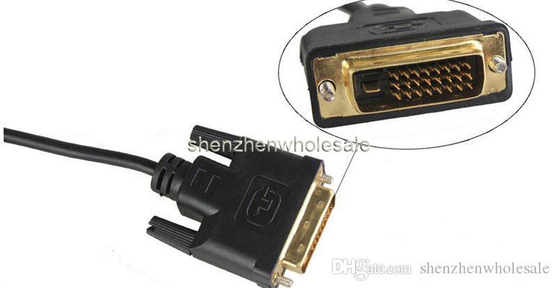 Yüksek hızlı HDMI DVI 24 + 1 pin adaptörü Altın kaplama Erkek kablo Için 1080 P HD HDTV HD PC XBOX 1 m 2 m 3 m