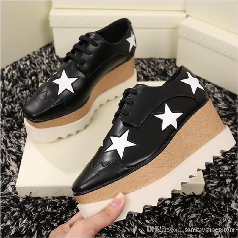 Wholesale Lady Star Star Star Platform scarpe, 100% Genuine Pelle Wedge c08c7d