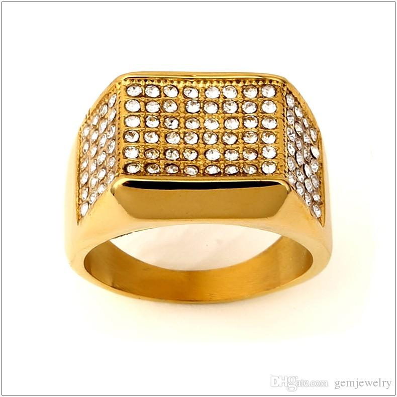 Steel Square Side Paved Ring Iced-Out CZ Gold Tone Gold Rings Hip Hop Rock Jewelry Bar Club For Men Women Birthday Gift