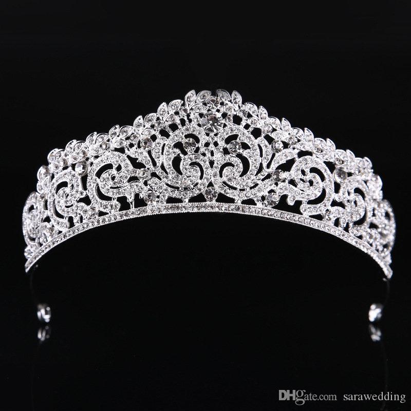 Мода Высокого Качества Изысканный Кристалл Свадебная Корона 2019 Женщины Pageant Пром Диадемы Украшения Для Волос Аксессуары Головной Убор
