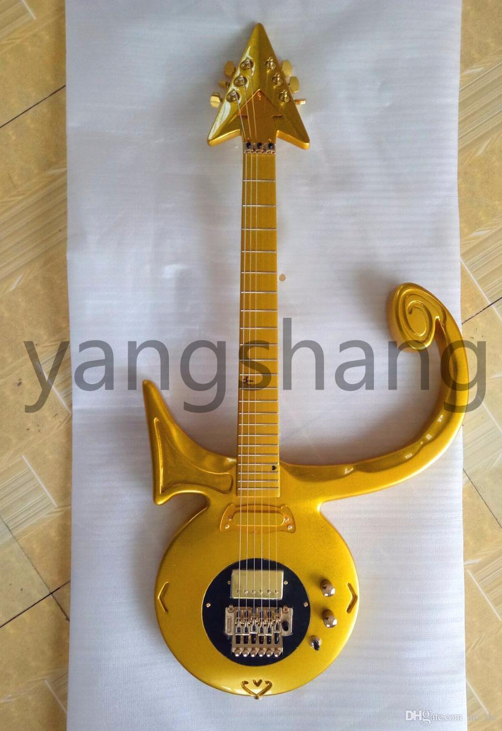Rare Shaped Guitar Metallic Gold Prince Love Symbol Electric Guitar ...