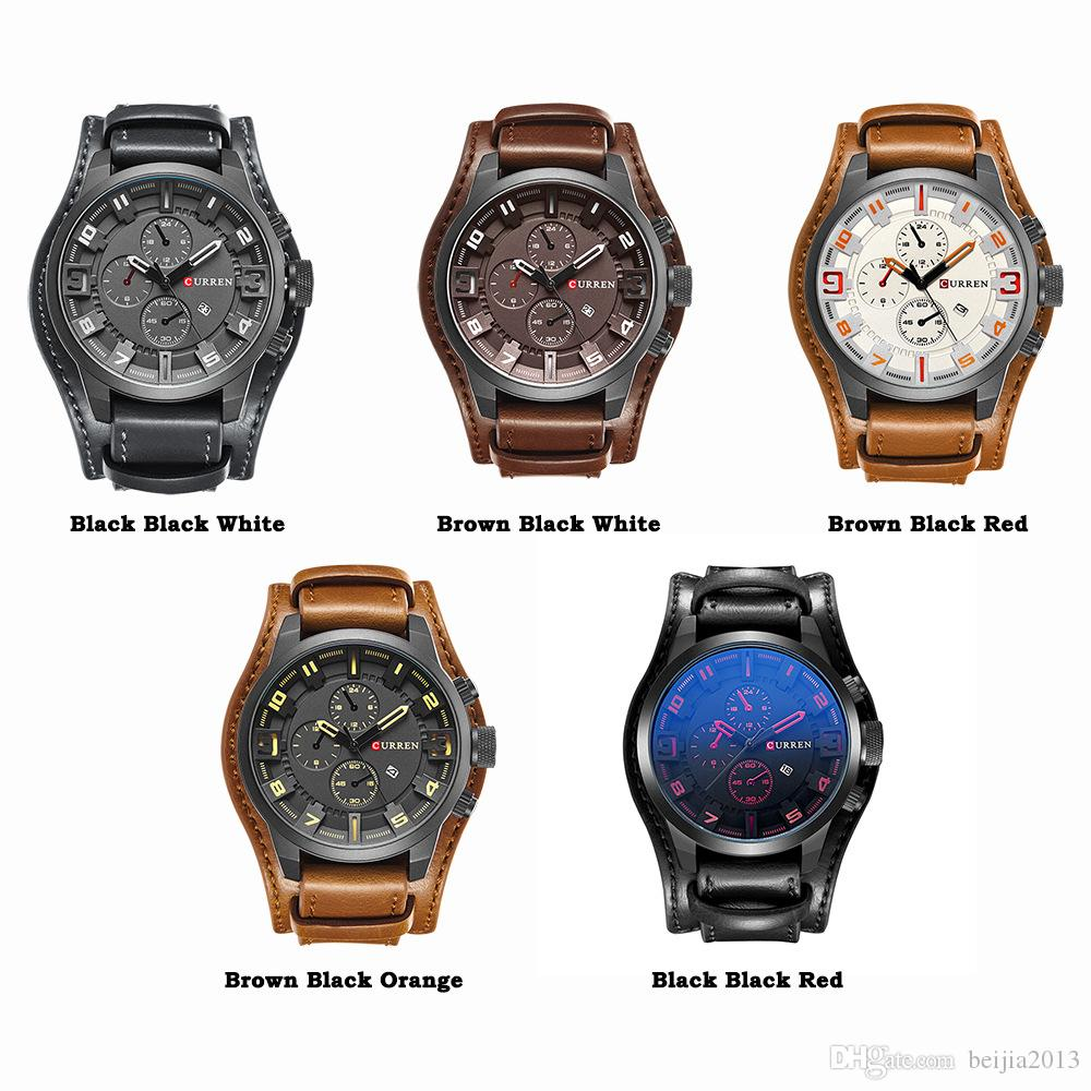 Relogio Masculino Curren 8225 Relojes de pulsera para hombre Famosos Suntuosos Septuous Sport Color Casual Hombres Reloj Reloj de cuarzo