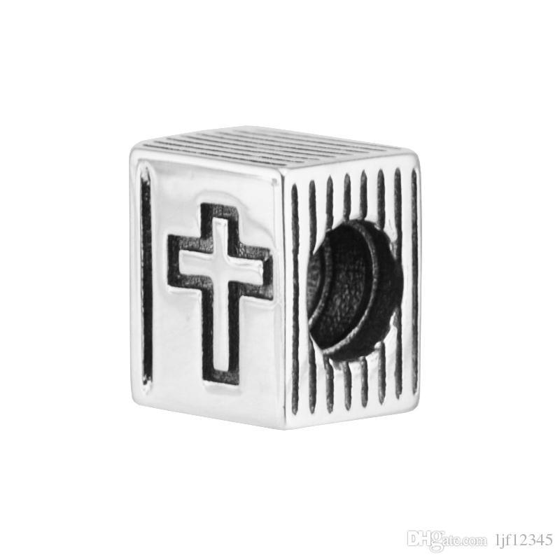 Clipes para mulher os grânulos da Bíblia Sagrada Encantos do livro cruz se encaixam pulseira pandora para mulher Original 925 jóias de prata fazendo encantos