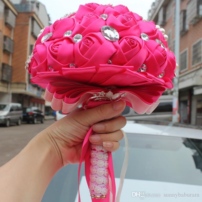 Hot Pink Hochzeit Bouquets Rose Künstliche Süße 15 Quinceanera Bouquet Kristall Seidenband Neue Buque De Noiva 37 Farben W228-A
