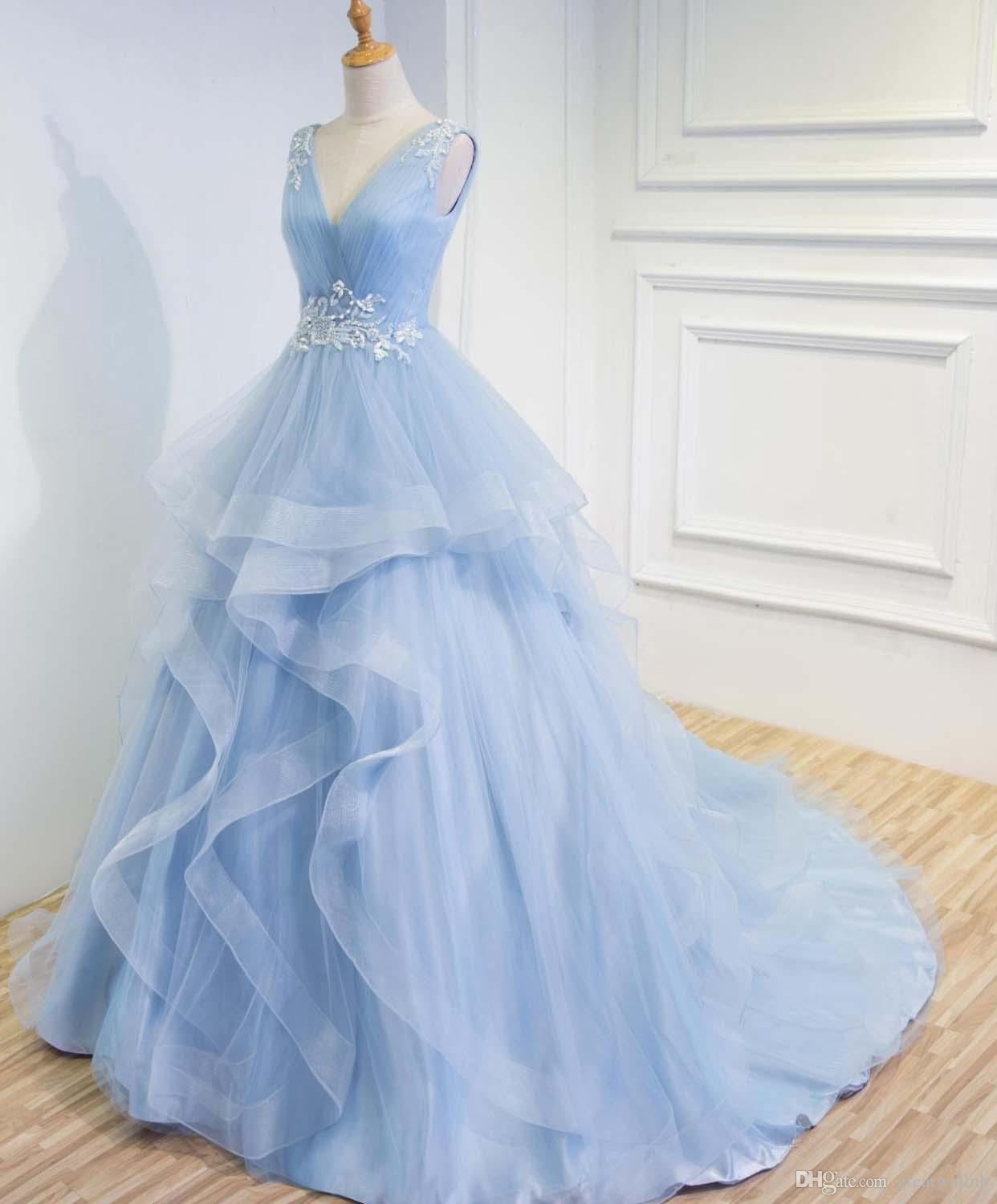 100%real Luxury Light Niagara Blue Ruffled Court Medieval Dress ...