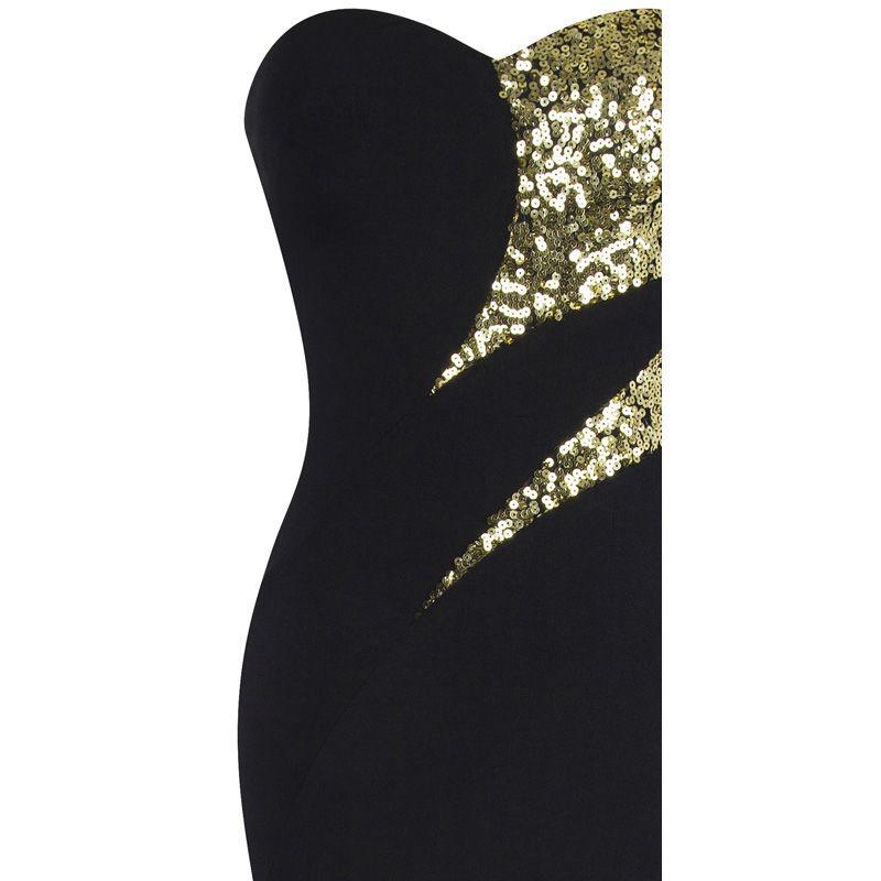 Angel-fashions женские без бретелек Милая сращивания золотые блестки вечернее платье вечернее платье новое поступление черный 368