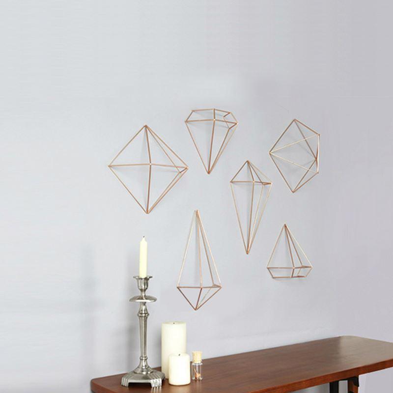 pack fashion diamond metal iron shelf wall stickers 3d geometry