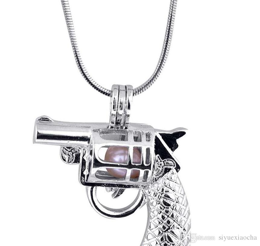 18KGP Pearl Cage Pendants Coll Gun Shape Pearl Gem Beads Cage Lockets Pendants, Hign quality and