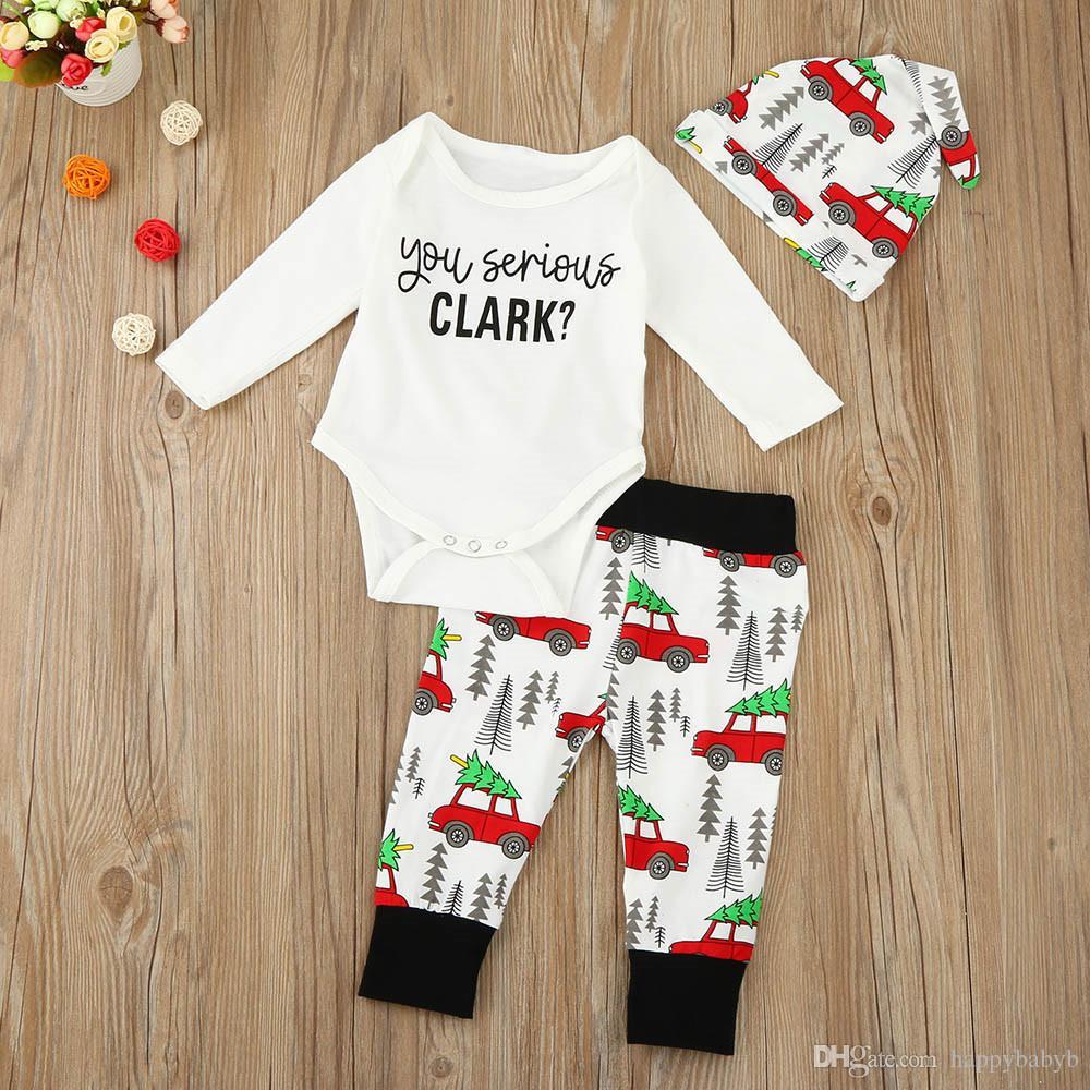 Erkek Kız Bebek Noel Rompers Giyim Setleri Pamuk uzun Kollu Yenidoğan Romper Araba baskılı Pantolon Şapka 3 Adet Set Toddler Bebek Giysileri