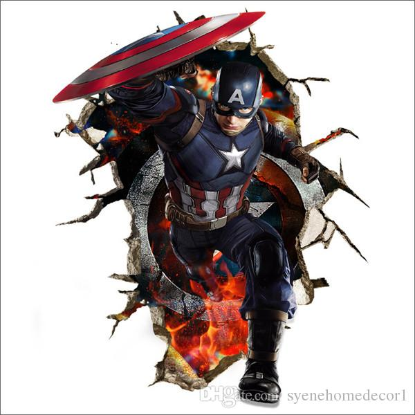 Captain America Wall Art newest captain america wall decals 3d wall stickers for baby