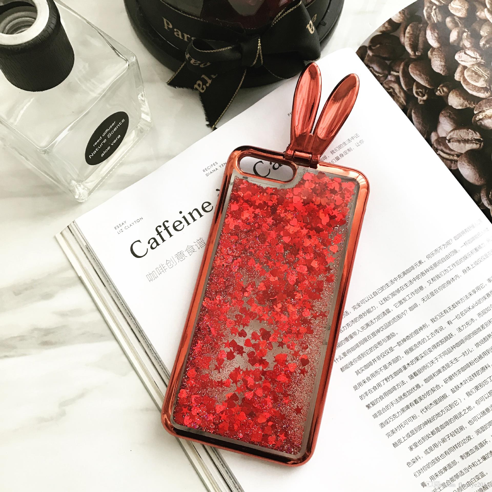 Love Heart Stars Glitter Stars Phone Case For IPhone 6 6S 7 7 Plus Dynamic Liquid Quicksand Soft TPU Back Cover Phone Case Phone Case for Iphone 7 Tpu Cover