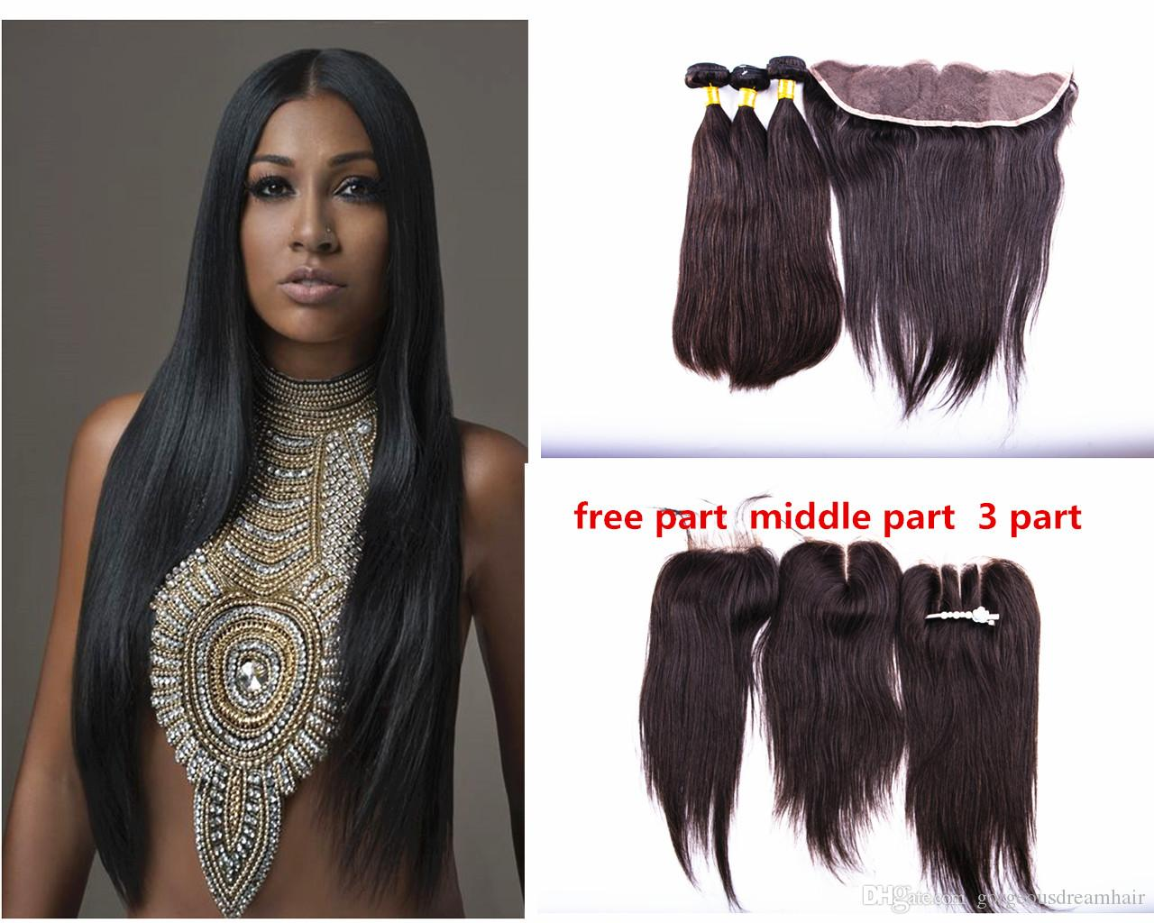 Brazilian Virgin Hair Stright 3 Bundles With 13x4 Lace Frontal Hair