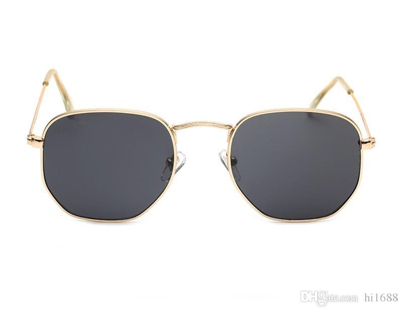Designer de marca de Óculos De Sol das mulheres dos homens de Alta qualidade Hexagonal Metal Óculos de Sol Hexagonal personalidade irregular lentes planas com casos e caixa