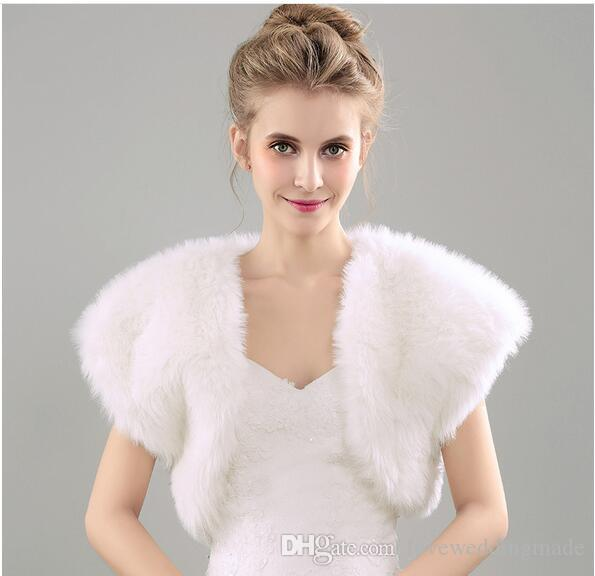 Autumn And Winter New 2017 Fashionable Wedding Shawls For Wedding Dress Faux Fur Thick Bridal Wraps&Jackets