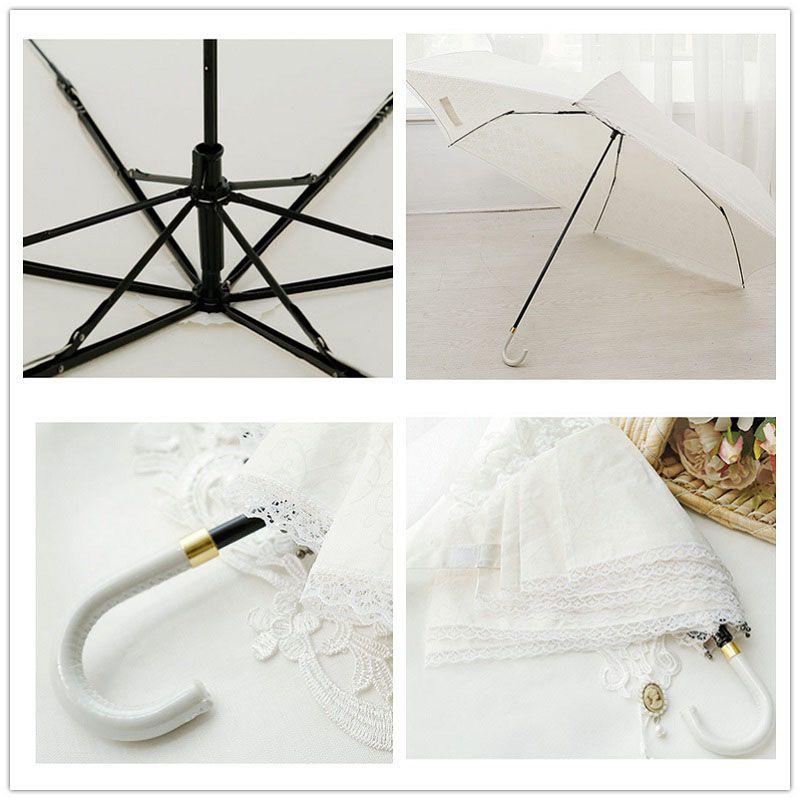 Moda Donna Bianco Nero Pizzo Ombrello Manico Svasato Guarda Chuva Ombrellone Parasole Pioggia Matrimonio Sposa Ombrello ZA3285