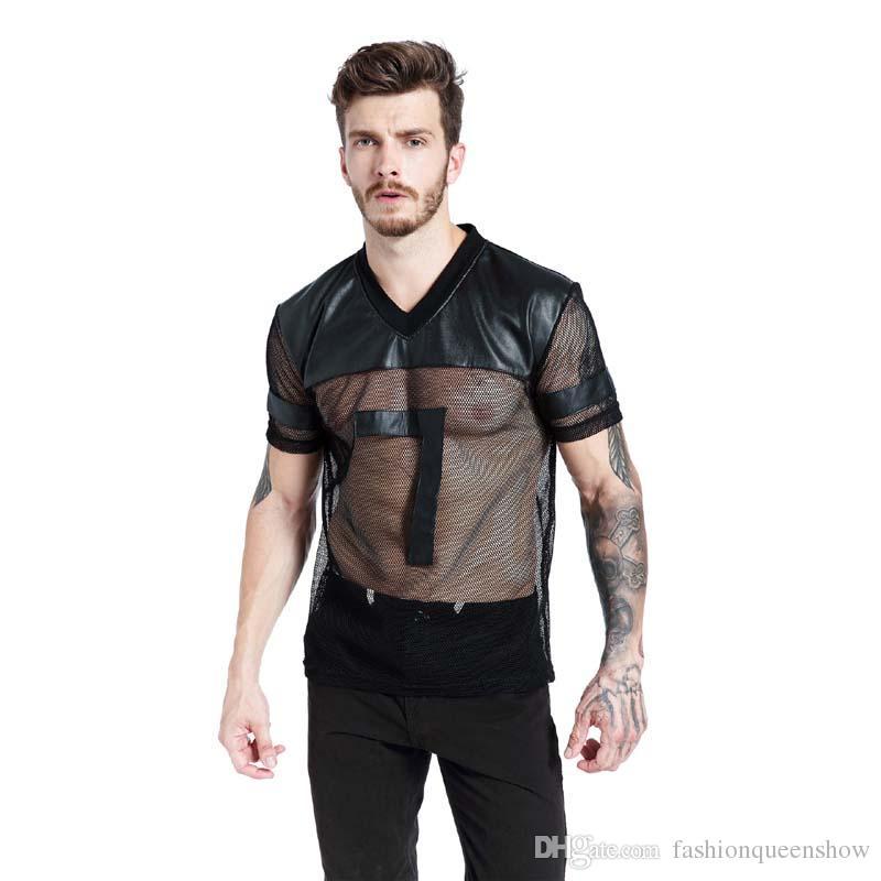 Homens de Couro falso T-shirt Preto Respirável Tee Malha Patchwork V Collar Ver Através Tee Masculino Punk Tops de Manga Curta S-XL