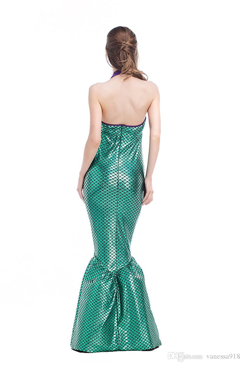 New Sexy Green purple Mermaid Adult Princess Womens Halloween Cosplay Costume Fancy Club Party Long Tail Skirt wholesale PS024