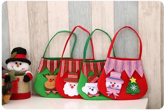 Christmas Gifts Brushed Fabric Color Bag Santa Claus Gift Bag ...