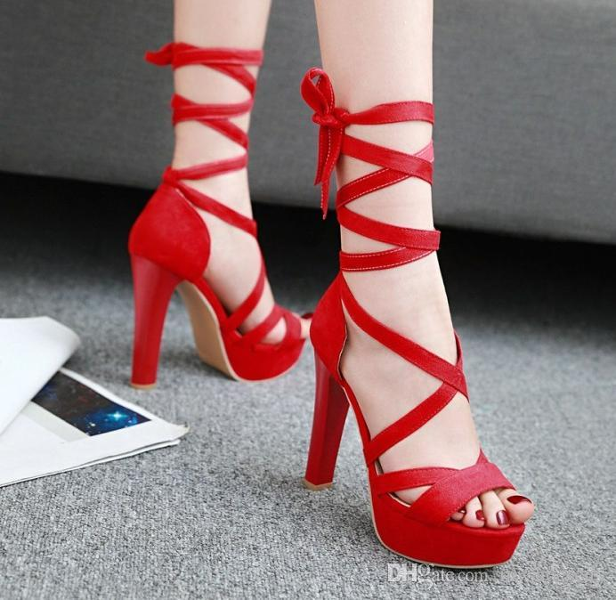 Plus Size 33 to 40 41 42 43 Red Wedding Shoes Cross Strappy Thick ... c4848479aeae