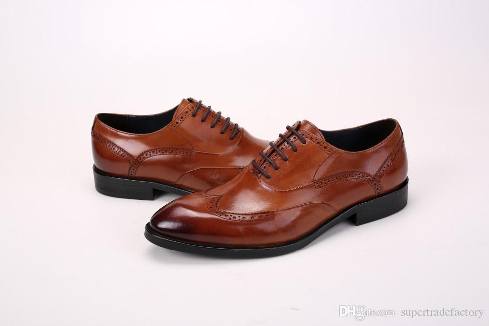 ec0854ef41b Compre Zapatos Oxford De Color Negro   Marrón   Marrón Para Hombre Zapatos  De Negocios Zapatos De Vestir De Cuero Genuino Zapatos De Punta Puntiaguda  Boda A ...