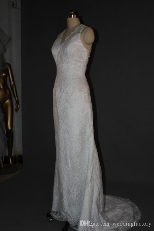 Echtes Bild Spitze Meerjungfrau Brautkleider Exquisite Perlen Pailletten V-Neck Sleeveless Vintage Moral Säule Brautkleider mit Sweep-Zug
