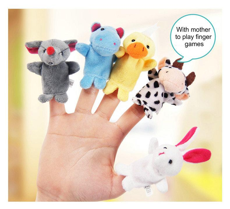 retail Baby Plush Toy Finger Puppets fashion Stuffed Animals plus animals creative Talking Props 10 animal group best quality gift