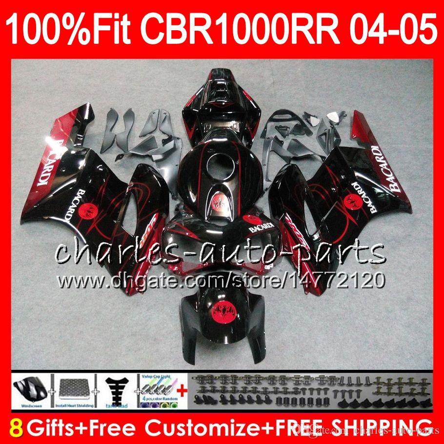 Einspritzkörper für HONDA BACARDI Fledermäuse CBR 1000RR 04 05 Karosserie CBR 1000 RR 79HM5 CBR1000RR 04 05 CBR1000 RR 2004 2005 Verkleidung Kit 100% Fit