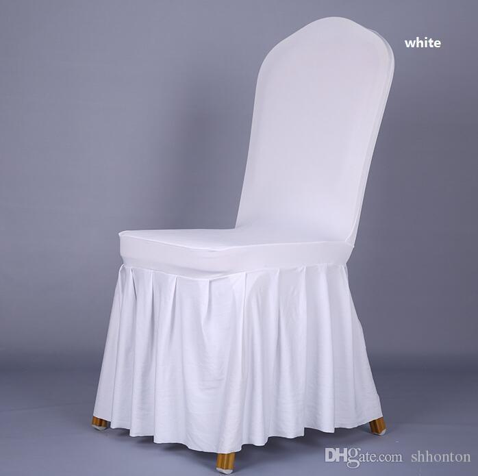 Couverture de jupe de chaise Mariage Banquet Chaise Protecteur Housse De Couverture Décor Jupe Plissée Style Chaise Couvre Élastique Spandex Haute Qualité WT056