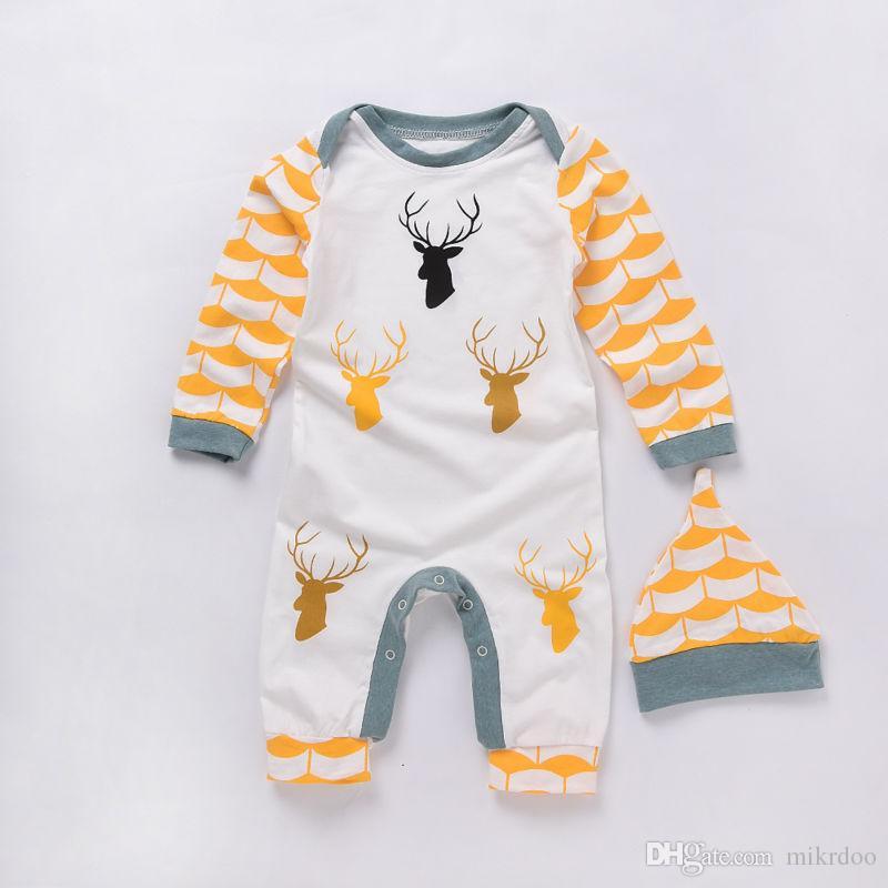 Mikrdoo Hot Baby Neugeborenen Strampler Weihnachtsgeschenk Tier Design Deer Overall Herbst Winter Playsuit Hut 2 stücke Sets Kinder Baumwolle Kleidung
