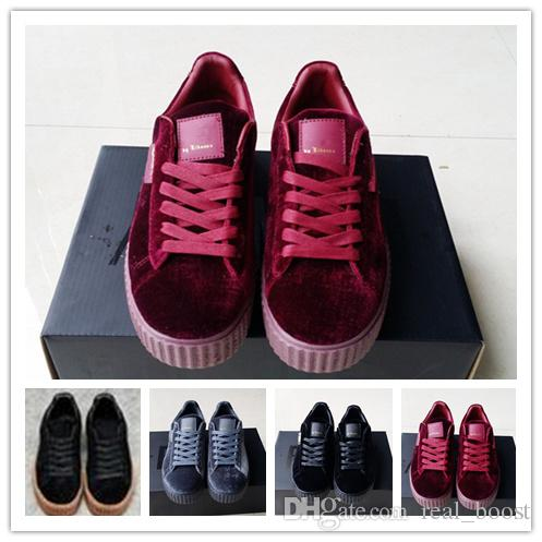 2018 Newest Rihanna Creepers Fenty Velvet Creeper Trainers Burgundy Red  Black Grey With Original Box Suede Creeper Sneakers 36 44 Sports Shoes  Running Shoes ... 60c65bcd5