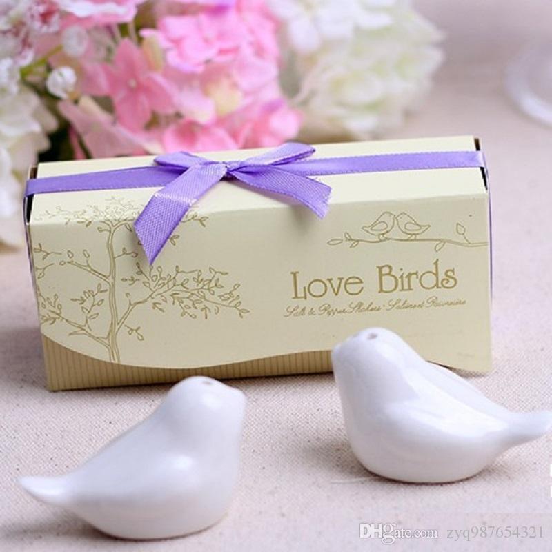 2017 новая мода свадебные сувениры 200 шт=100 комплект любовь птицы соль и перец шейкер партия выступает бесплатная доставка DHL