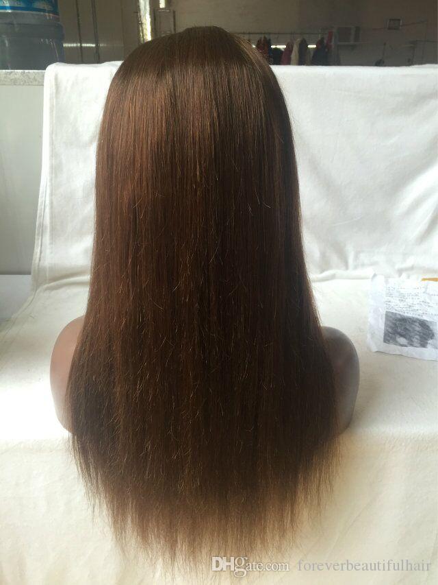 Дешевые Glueless Шелковые Прямые Каштановые Волосы Парики Полный Шнурок Человеческих Волос Парики Для Чернокожих Женщин Прямые Девственные Перуанские Волосы Кружева Перед Парики