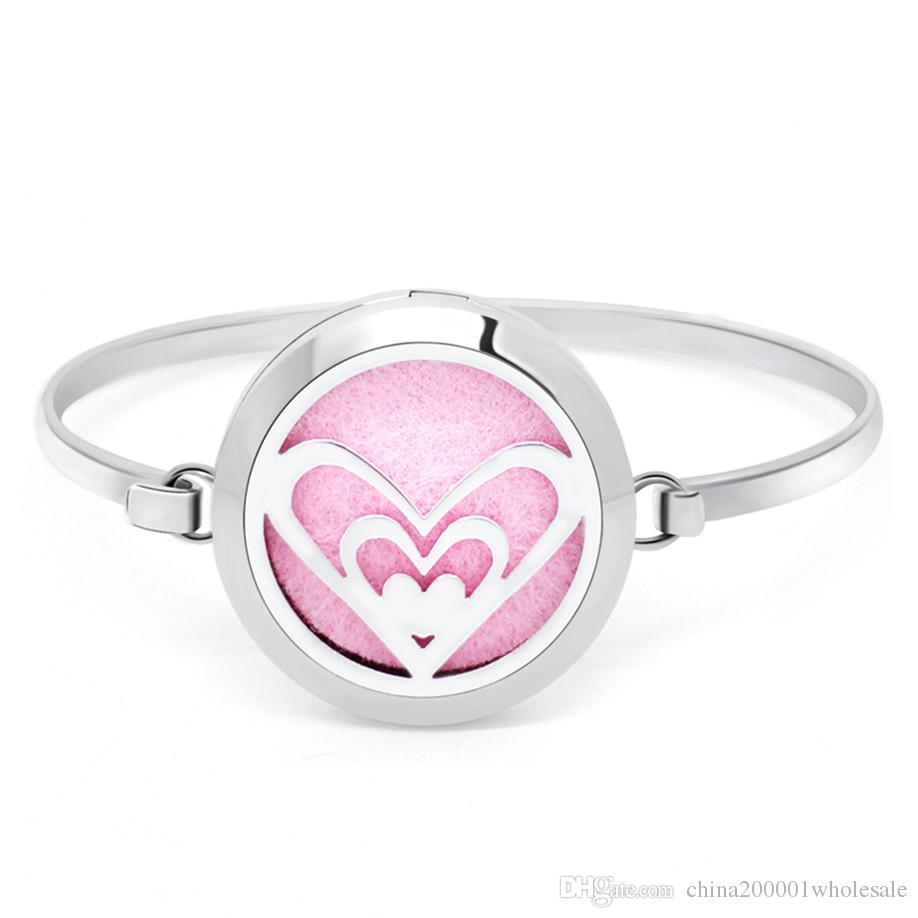 GS111-GS120 Pretty Flower 30mm Aromaterapia medaglione olio essenziale braccialetto 316L S. Profumo Diffusore Locket braccialetto 5 pz feltrini come regalo
