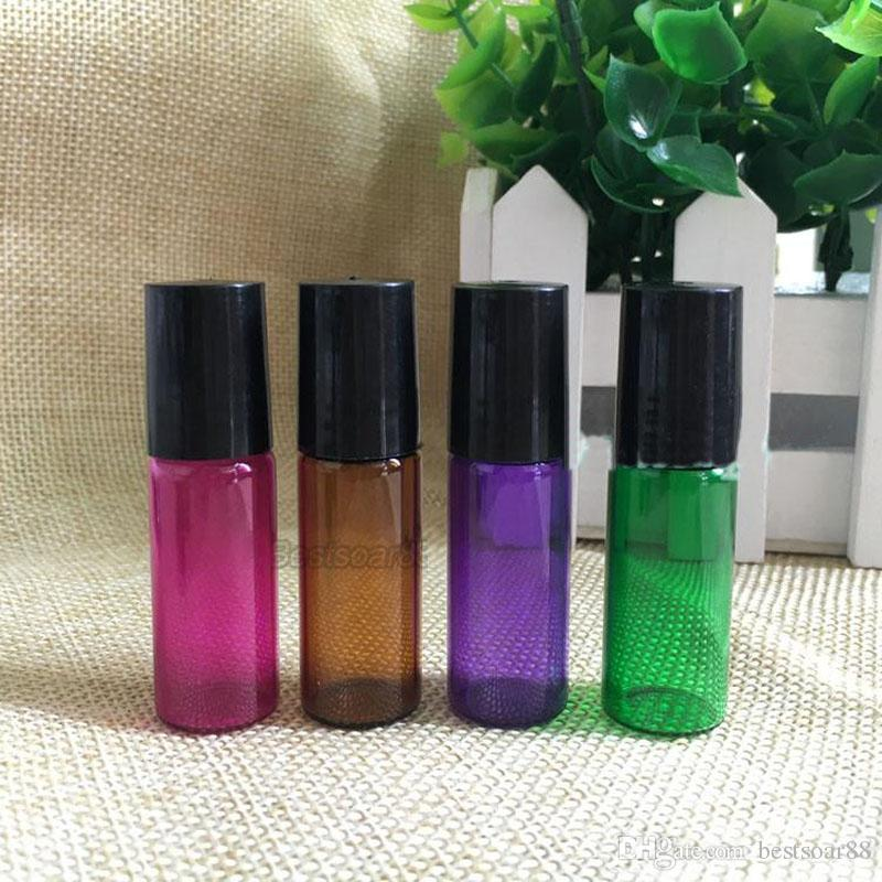Wholesale USA UK Thick 5ml Rose Red/Purple/Gree/ Amber Empty Roll on Glass Bottle for Essential Oil Bottle With METAL Roller Ball