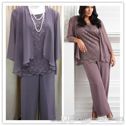 Real Sample New Fashion 2019 Three Pieces Lace Chiffon Mother's Pants Suit Purple Long Mother of the bride Dress Wedding Party Gown