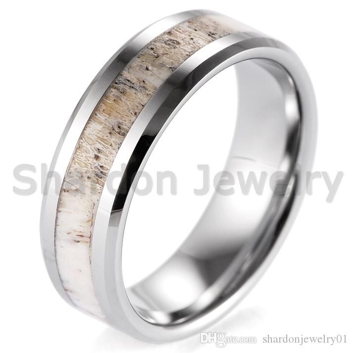 6ada6cbfdddd95 8mm Beveled Mens Wild Antler Inlaid Tungsten Ring Outdoor Engagement Wedding  Band Have in Stock Real Antler Ring Tungsten Carbide Ring Couple Rings  Online ...