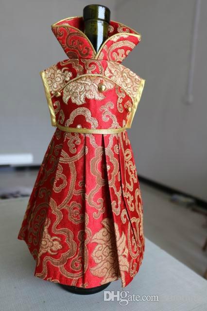 2017 Luxury Handmade Wedding Wine Bottle Dress Gift Bag