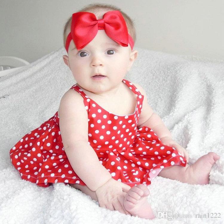 Baby Girls Dot Sundress Dress Infants Toddlers Summer Cotton Red Sleeveless Pleated Dresses Kids Babies Backless Ruffles Dress Vest Skirts