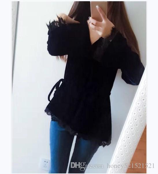 Осень новая мода женская сексуальная v-образным вырезом с длинным рукавом flare шнурок тонкий талии асимметричные кружева лоскутное бархат топ рубашки 3XL