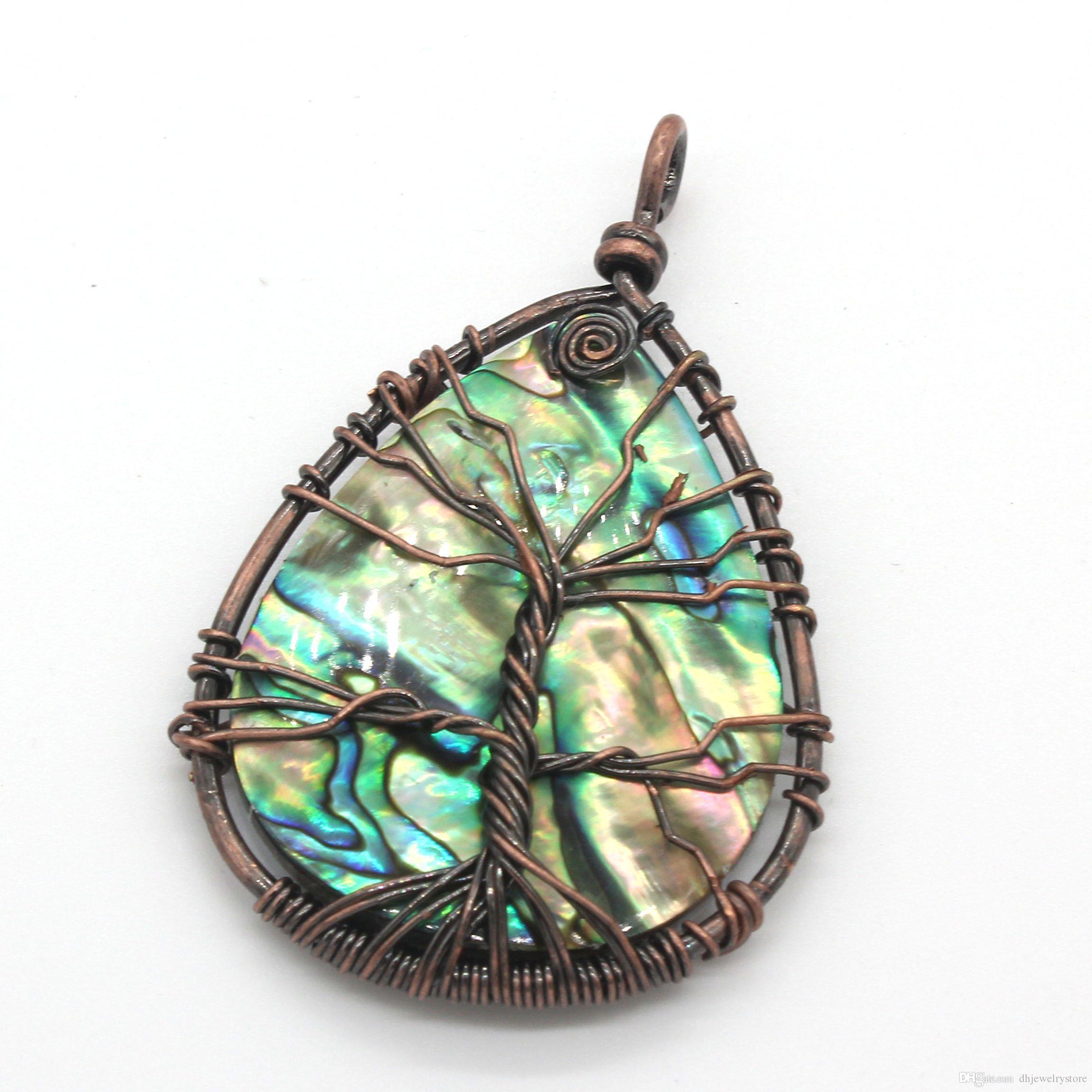 Commercio all'ingrosso 10 pezzi popolare filo di rame avvolgere goccia d'acqua naturale abalone shell gioielli moda regalo