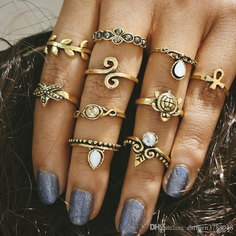 Vintage Midi Rings Retro Gold Silver Plated Joint Knuckle Nail Ring Set Christmas Gift Jewelry Bulk Price