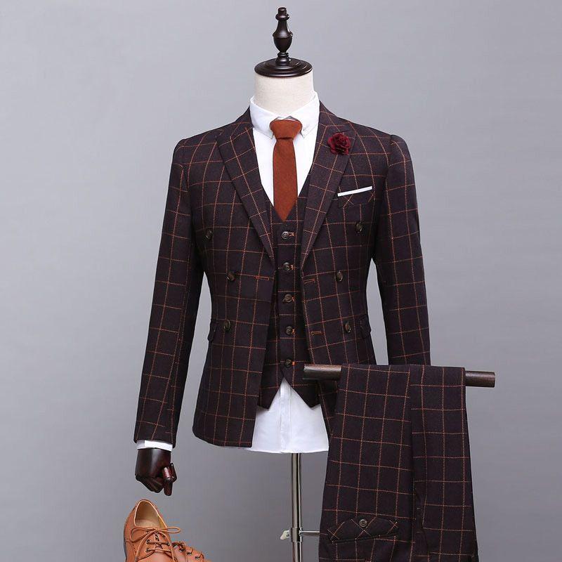 4a63cf1c5a5 2019 Wholesale Custom High Quality Men Suits Slim Fit Brand Lattice Men S  Suit Urban Fashion Autumn Blazer Wedding Groom Prom Plus Size From  Fenghuangmu