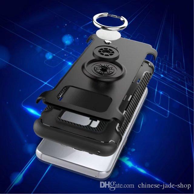Armor TPU + PC + Metalen Ring Beugel Case Cover Auto Magneet Zuighuls voor iPhone X 6S Plus 7 7 8 Plus Galaxy S8 S8 Plus S7 S7 EDGE