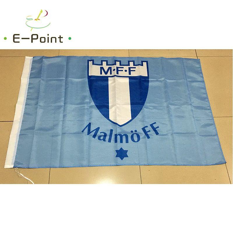 Suède Malmo FF MFF Type B 3 * 5ft 90cm * 150cm Drapeau en polyester Décoration de bannière drapeau de jardin