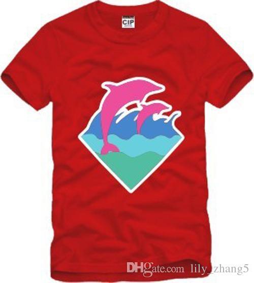 S-3XL Frete grátis nova chegada de alta qualidade homens mulheres camiseta rosa golfinho roupas hip hop t-shirt golfinho impressão t-shirt de algodão 6 cores