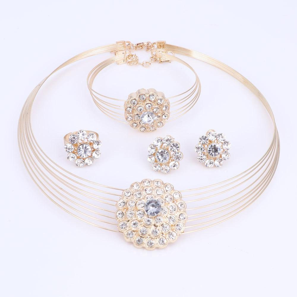 African Beads Jewelry Sets For Women Dubai Gold Color Costume Design Necklace Earrings Bracelet Ring Jewelry Bridal Gift