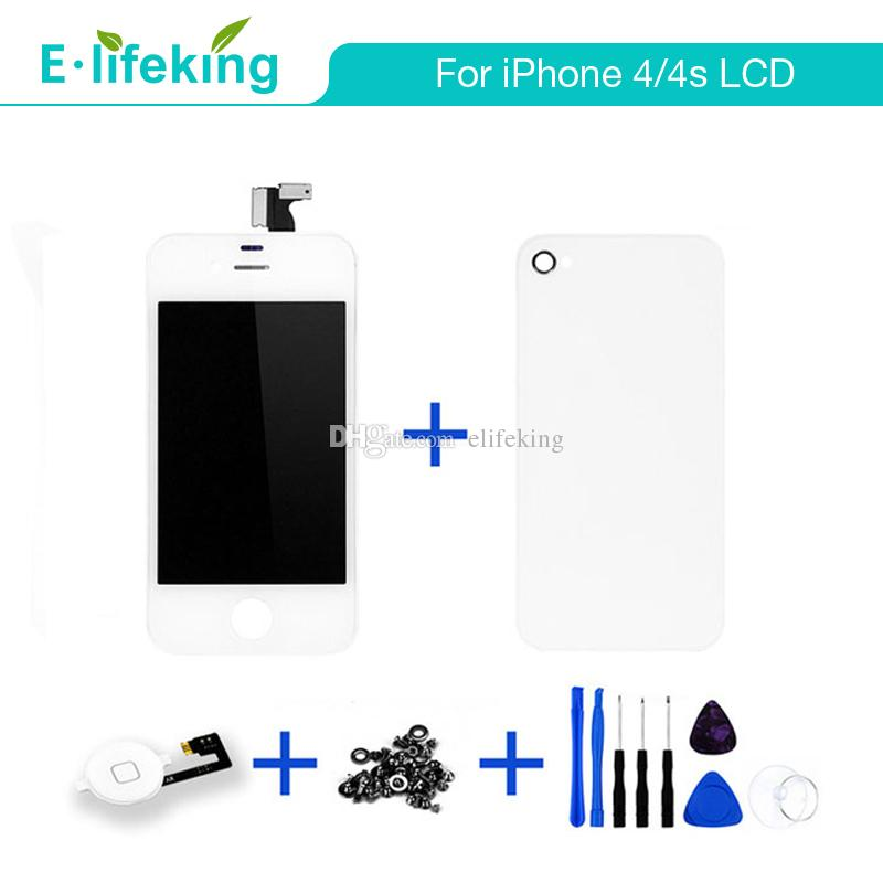 For iPhone 4 4s Good Quality LCD Display Touch Screen Digitizer+Back cover+Home button+Screws+Tools Full Assembly with Free DHL Shipping
